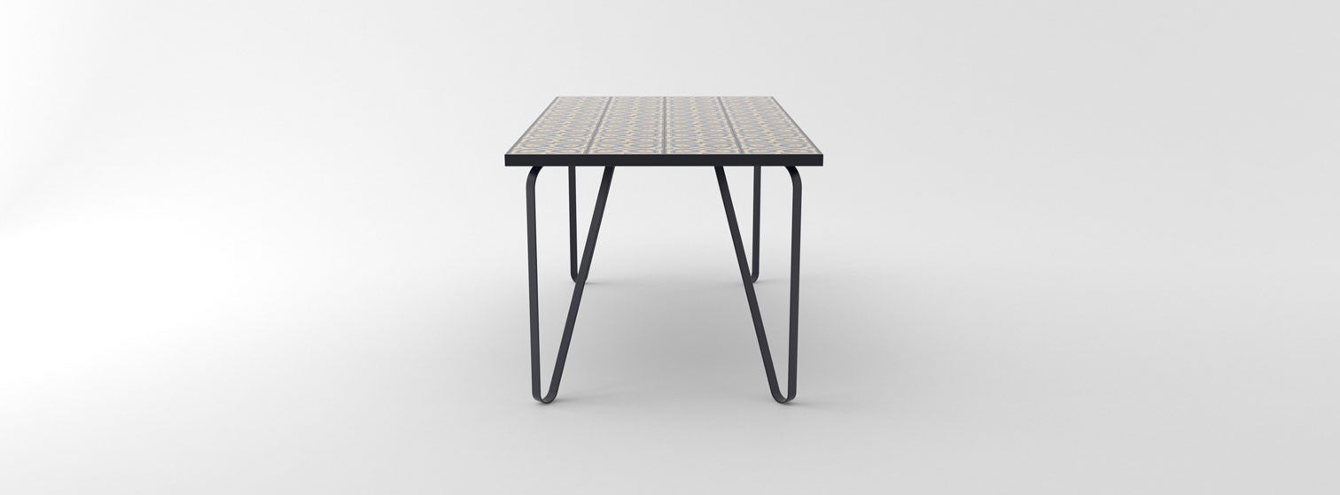 Ceramic tile table with black legs and italian tiles - Karen