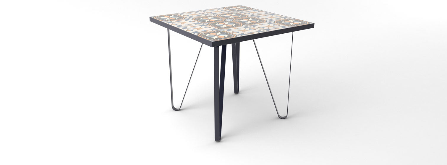 Ceramic tile table with black legs and italian tiles - Nahla