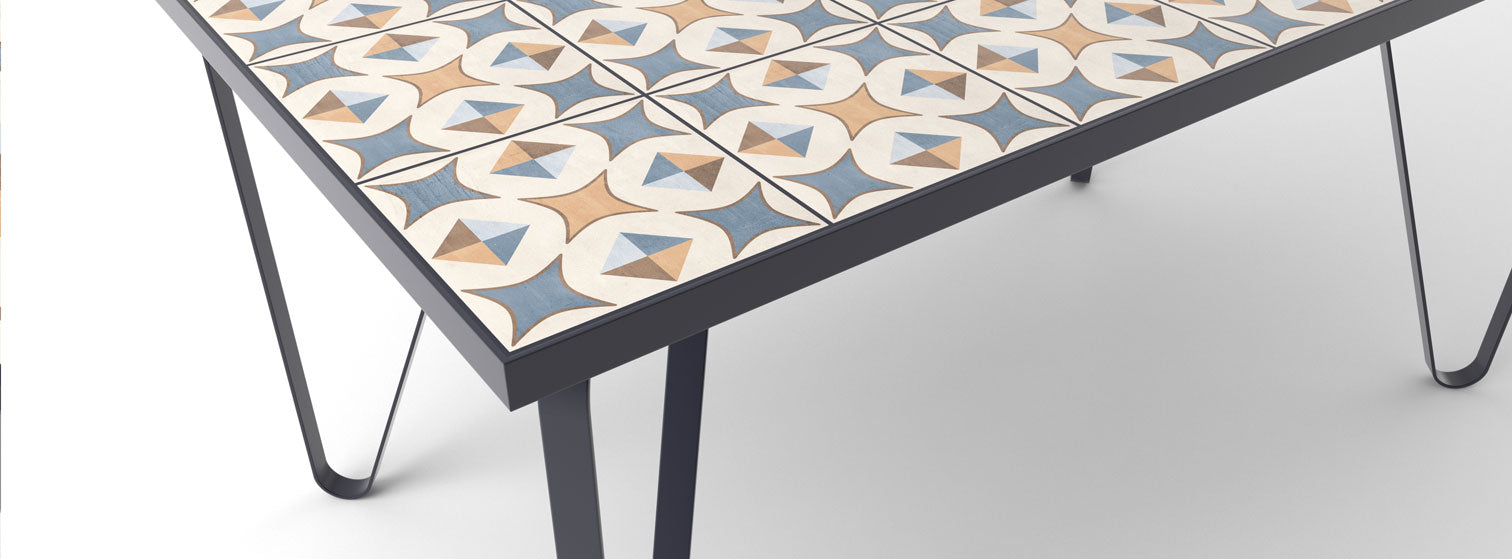 Ceramic tile table with black legs and italian tiles - Fulvia