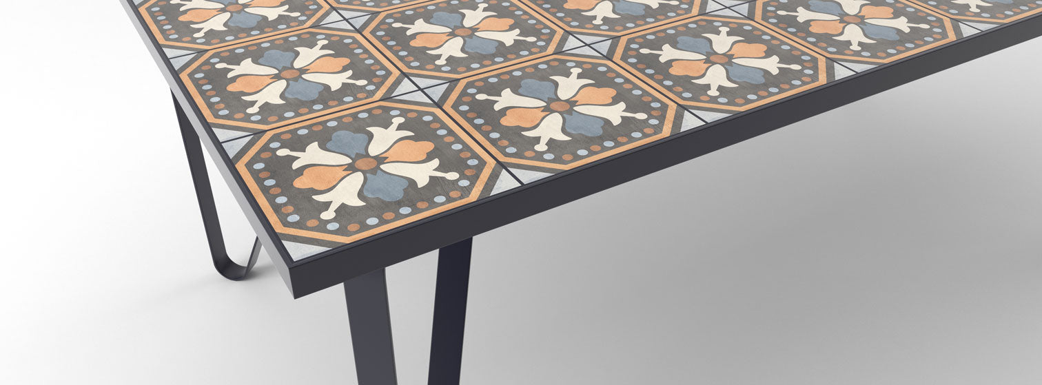 Ceramic tile table with black legs and italian tiles - Mara
