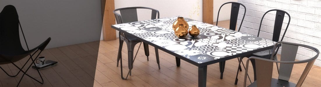 Ceramic tile table with black legs and italian tiles - Mario