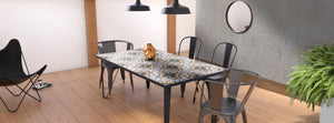 Ceramic tile table with black legs and italian tiles - Federica