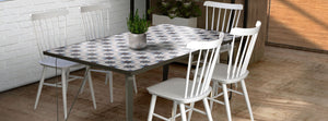 Ceramic tile table with black legs and italian tiles - Leila