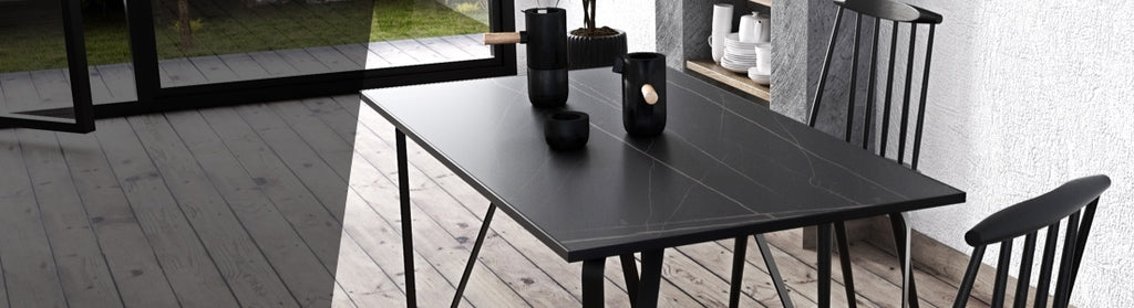 Ceramic tile table with black legs and italian tiles - Ambrogio