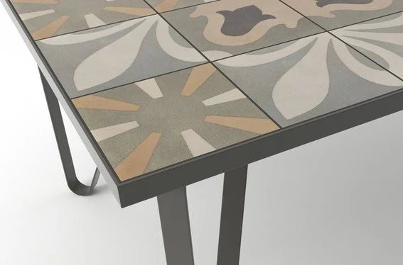 Ceramic tile table with black legs and italian tiles - Miriam