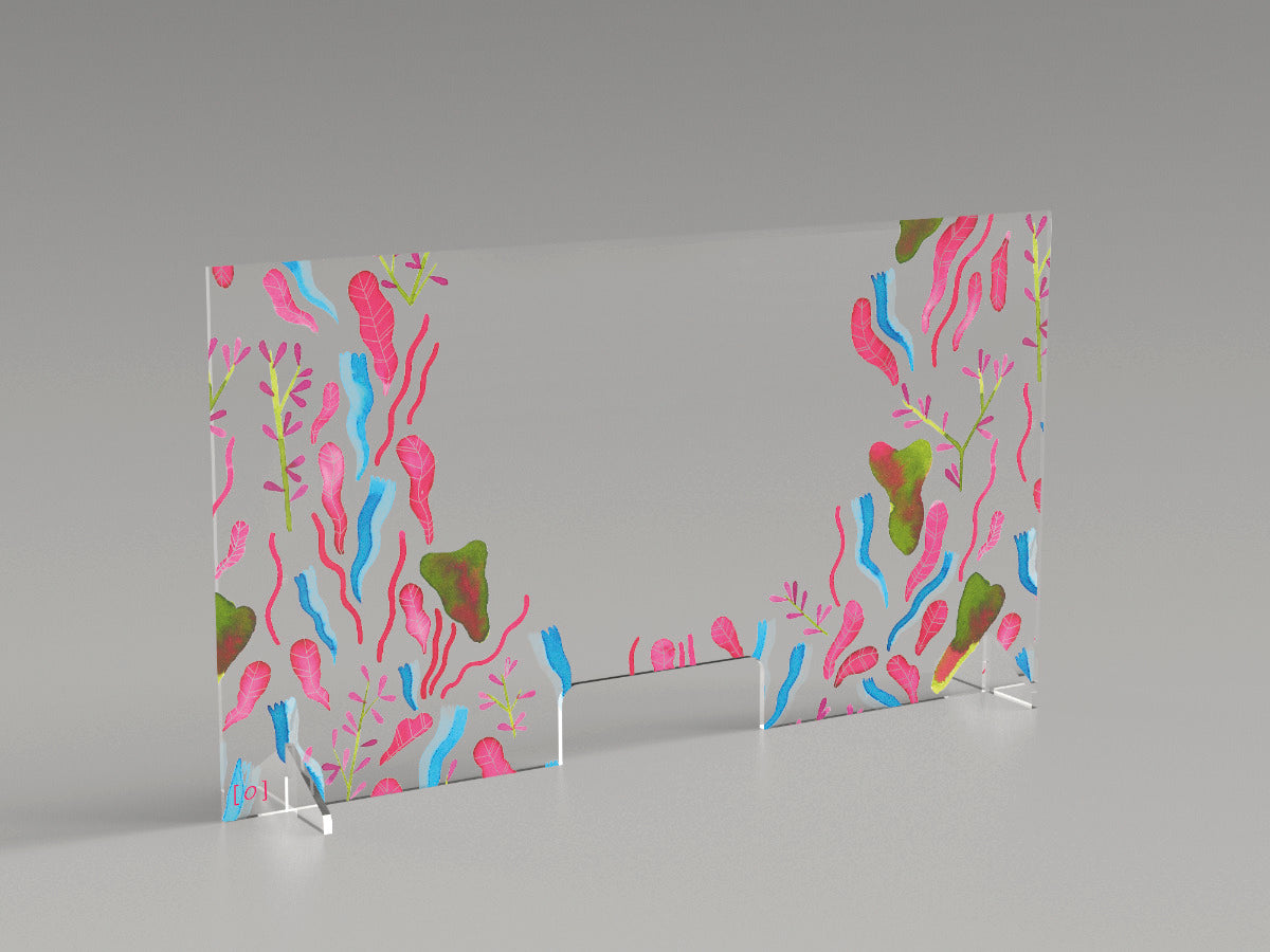 "Reception security plexiglass barrier ""Dream plants"" by M. Morotti"""