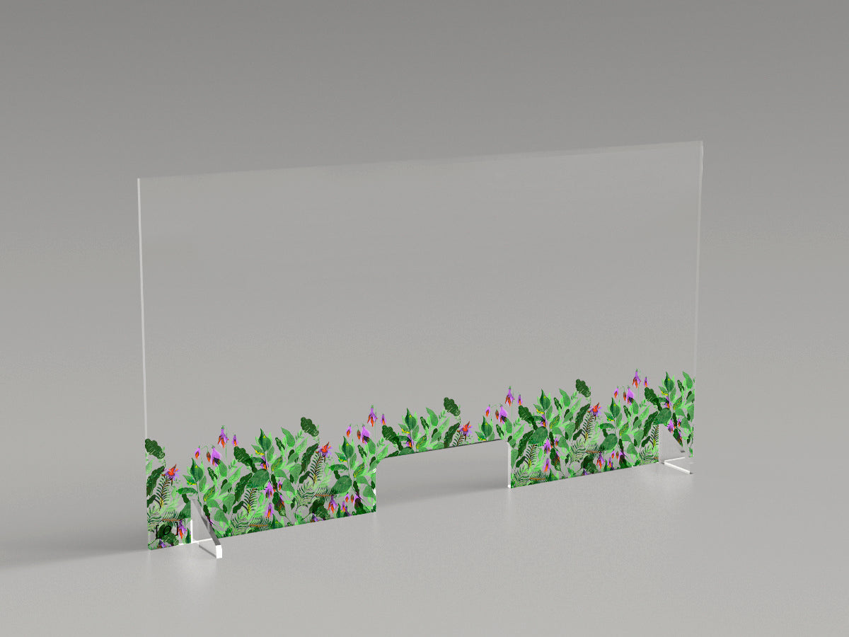 "Reception security plexiglass barrier ""Undergrowth"" by Sarah Edith"""