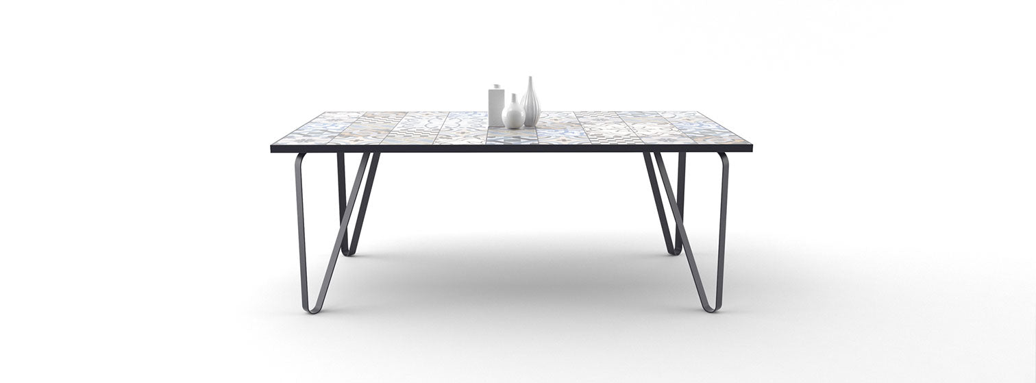 Ceramic tile table with black legs and italian tiles - Ian