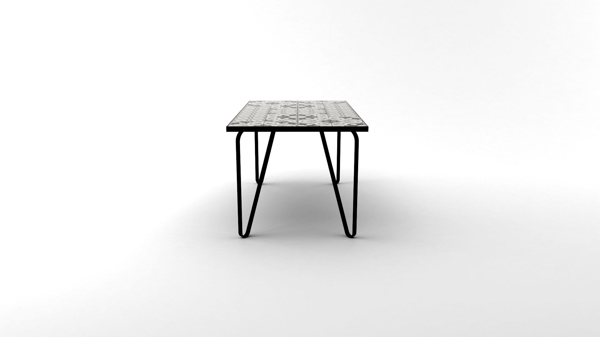 Ceramic tiled dining table with black legs and black fillings