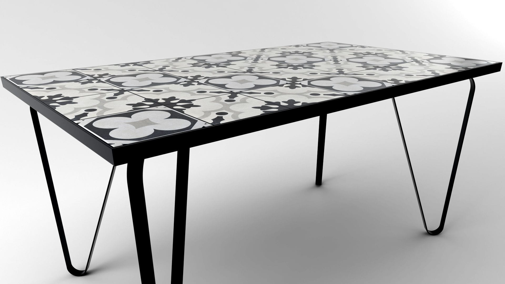 Ceramic tile table with black legs and italian tiles - Antonella