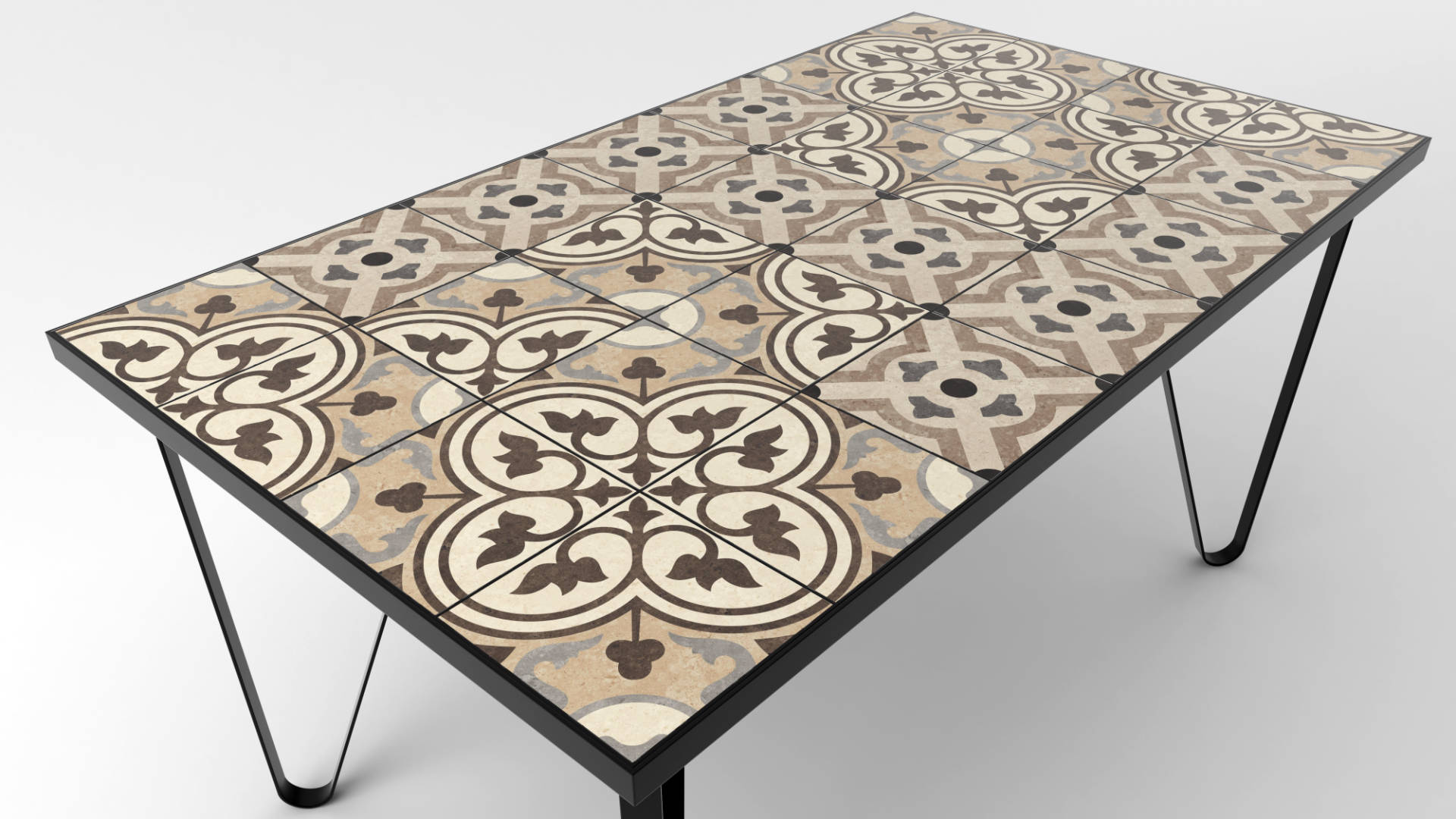 Ceramic tile table with black legs and italian tiles - Carola