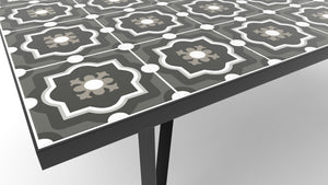 Ceramic tile table with black legs and italian tiles - Andrea