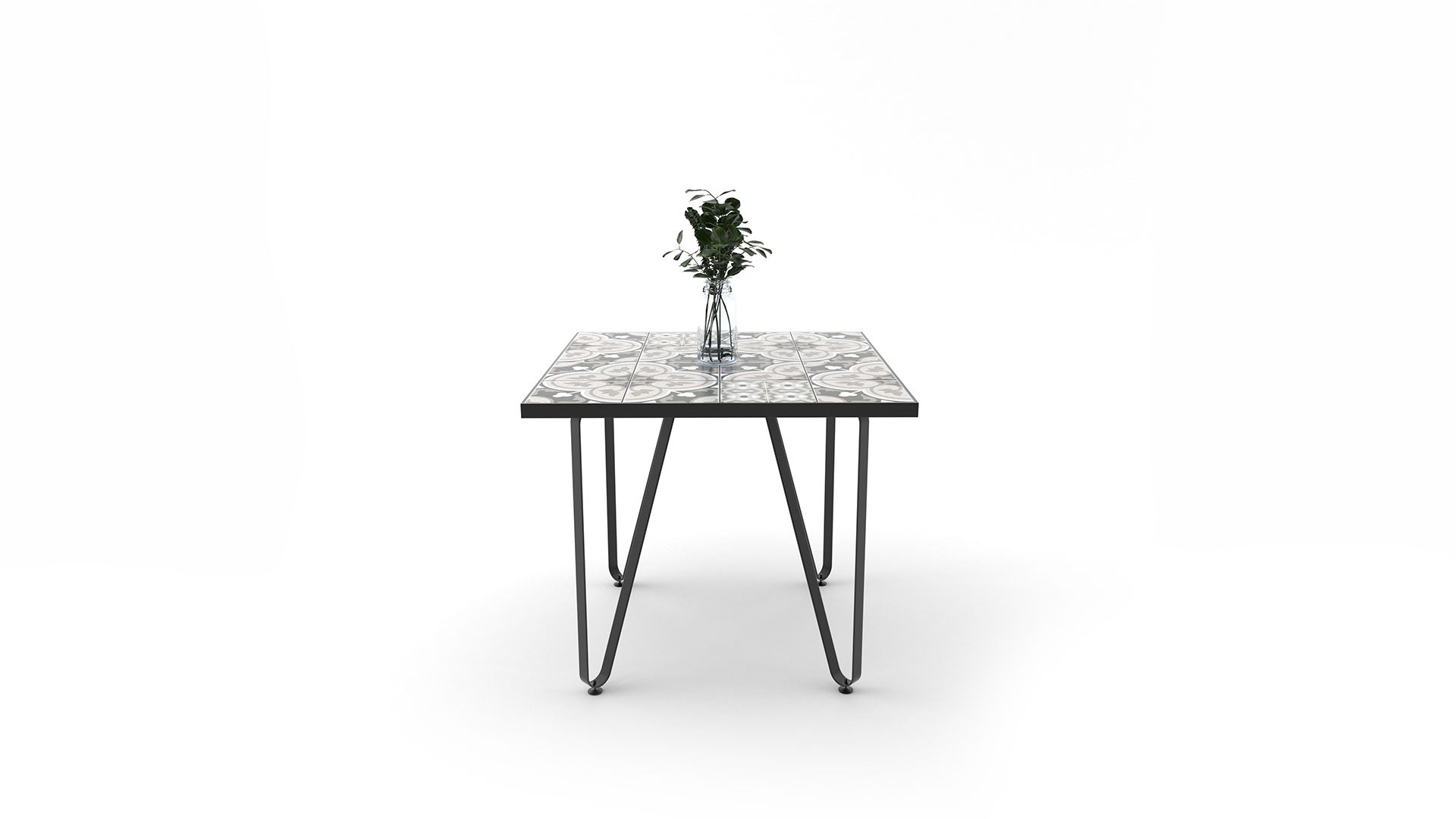 Ceramic tile table with black legs and italian tiles - Annalisa