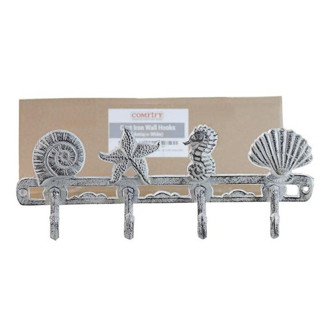 Cast Iron Wall Hanger – Sea Horse Stars and Shells with 4 Hooks