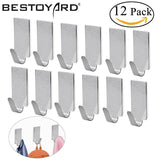 12Pcs Adhesive Stainless Steel Towel Hooks Family Robe Hanging Hooks Hats Bag Family Robe Hats Bag