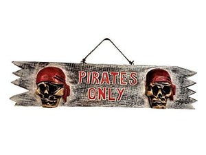 20  X 4.75  Handcarved &Amp; Painted Wood  Pirates Only Sign  With Cool Raised Pirates On Each End!