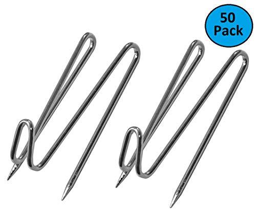 1Intheoffice Panel Wall Wire Hooks, Silver, 50 Hooks Per Pack