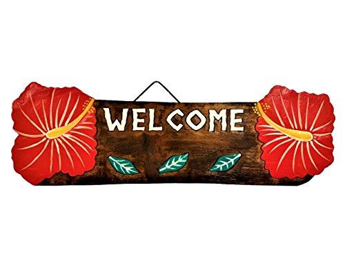 22  X 5.5  Handcarved &Amp; Painted Wood  Welcome  With Hibiscus Beach Decor Sign!