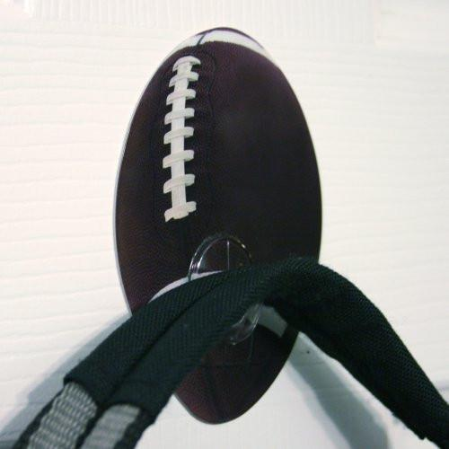 Football Self Adhesive Utility Hook - Set of 2 - Boys Bedroom, Bathroom, Back to School, Locker, Wall Hanger, Super Bowl Party Decoration(5512)