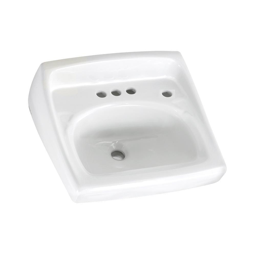 American Standard 0355.034.020 Lucerne Wall-Mount Lavatory Sink with 4-Inch...