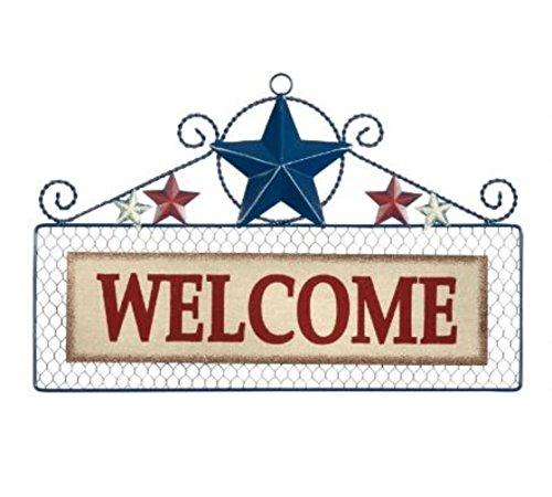 18 Welcome Patriotic Stars Wire Welcome Sign Wall Plaque