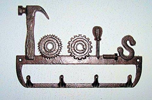 """ABC Products"" - 5 - Hook - Heavy Cast Iron Tool Hook - With 4 Hooks - Hammer, Circular Saw, Screwdriver, Bolt - Wall Hung - (Rustic Iron Finish - Use Indoor Or Outdoor)"