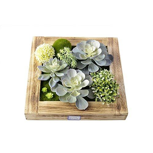 11.81 In11.81 In, 3D Artificial Flowers Wall Hanger Succulent Plants Moss On The Stone With Wood Frame Shape Vase Home Decoration, Blue