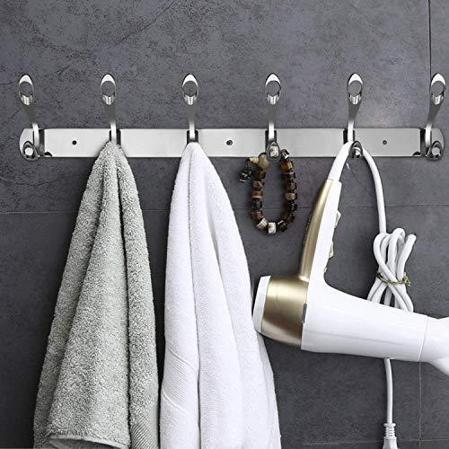 Arplis Wall Mounted Hooks, Stainless Steel Rack Wall Hanger with 6 Double Hooks Design, Coat Towel Rail Hook for Foyer, Hallways, and Bedrooms