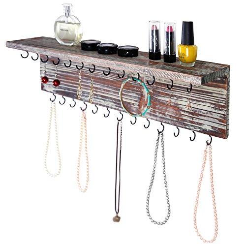 2-Tier Contemporary Rustic Torched Wood Wall Mounted Jewelry Necklace Display Rack W/ Storage Shelf