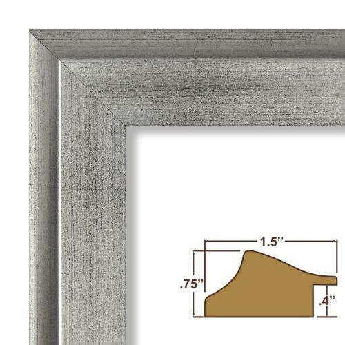 19X24 Picture / Poster Frame, Smooth Distressed Finish, 1.5  Wide, Antique Silver (203313)