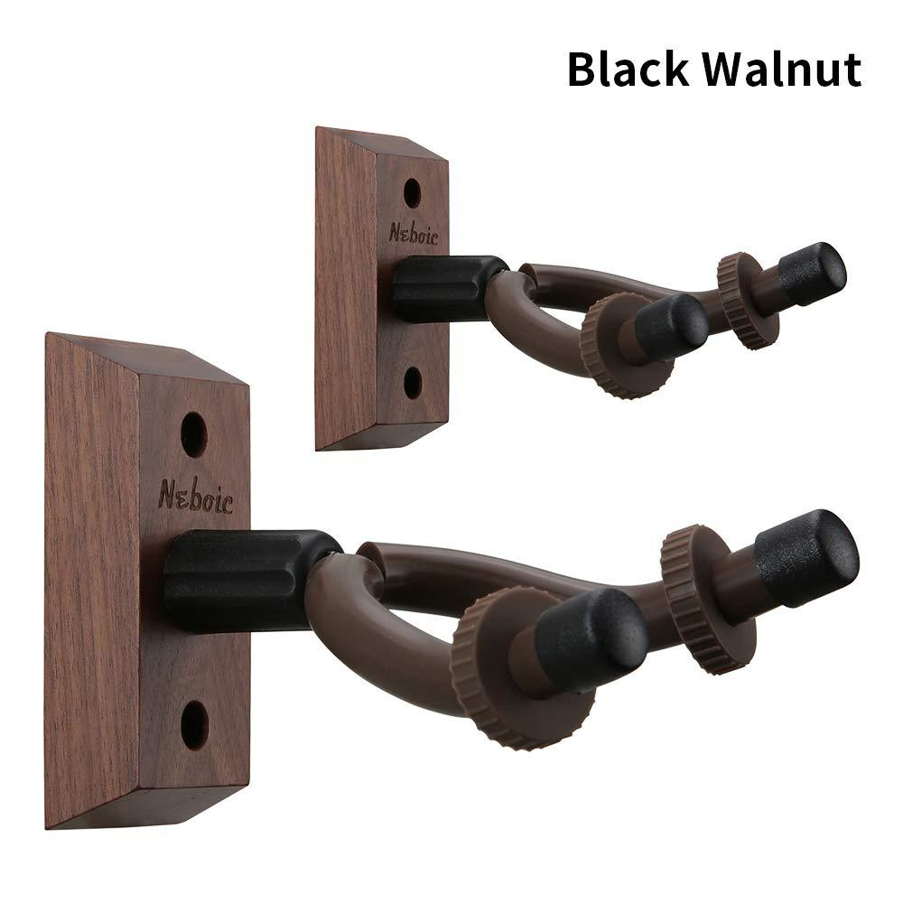 2 Pack Guitar Wall Mount, Neboic Hard Wood Guitar Wall Hanger, Black Walnut Guitar Hook, Guitar Accessories for Acoustic Electric Bass Ukulele Guitar Holder, Stand