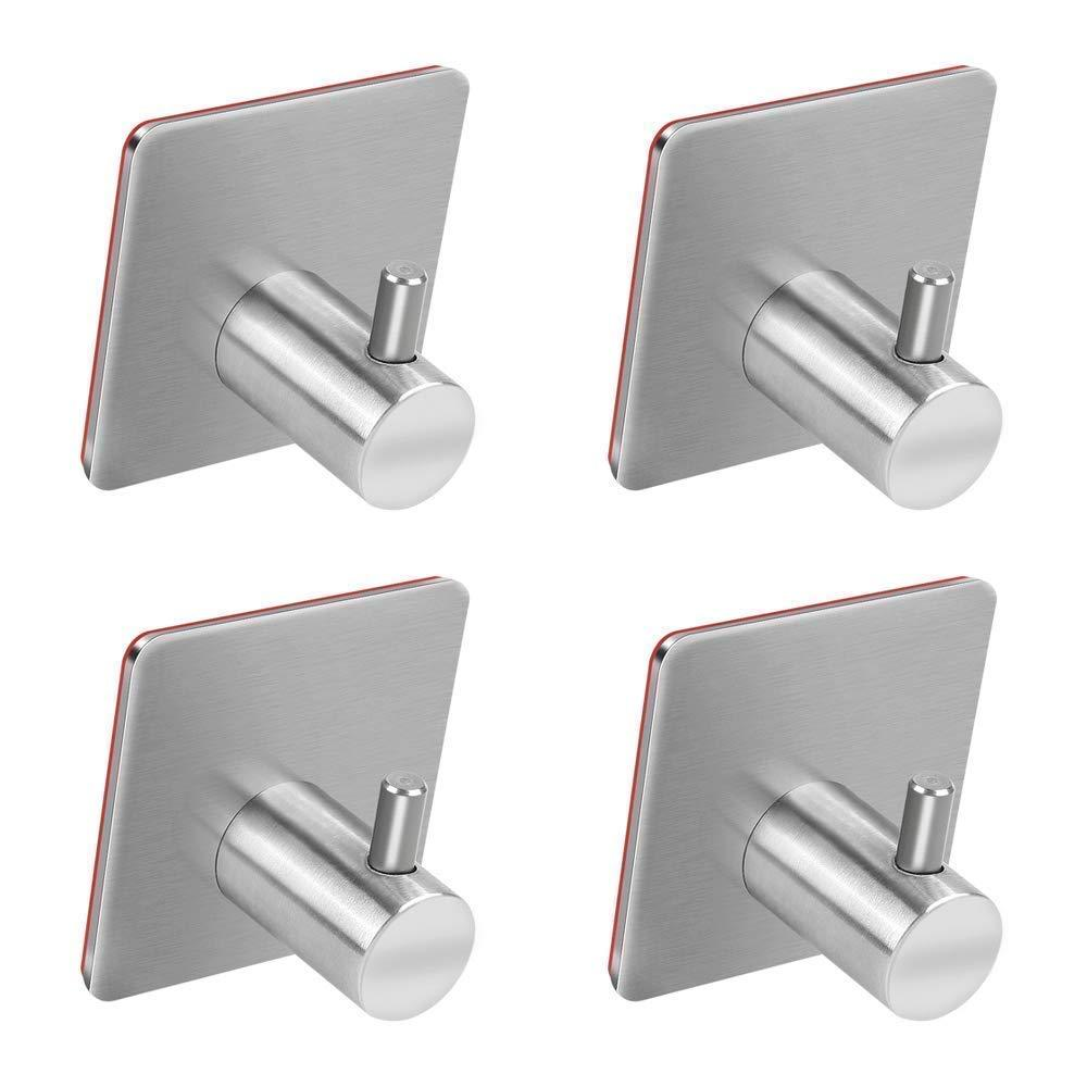 Adhesive Hooks, Turefans Heavy Duty Wall Hooks Stainless Steel Strong Sticky wall Hanger for Hanging Keys, Robe, Coat, Towel, Bags, Hats, Bathroom Kit