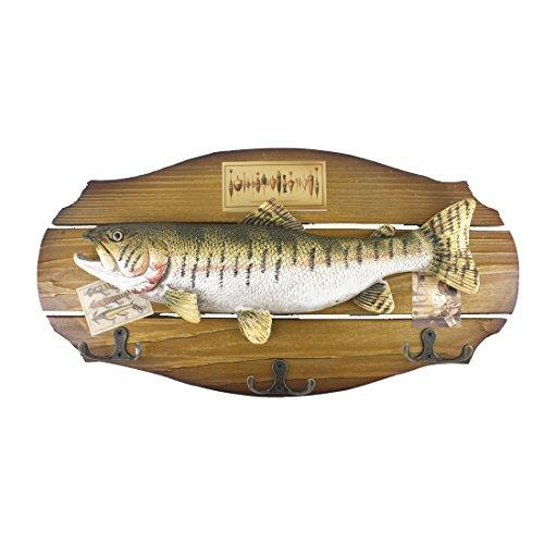 16-Inch Wood Decorative Big Trout Fish Welcome Sign Hanging Plaque With 3 Hooks,For Garden And Wall Decor