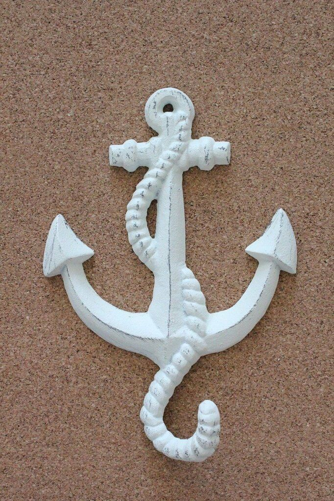 White Shabby Chic Anchor hook  beach wall decor. Towel hook Nautical hook
