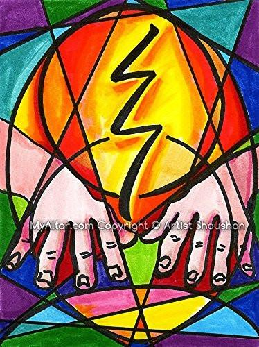 "Raku Reiki Grounding Healing Hands 11"" x 14"" Art Print"
