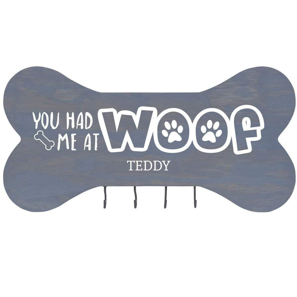 Personalized Grey Dog Bone Wall Hanger - You Had Me At Woof
