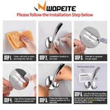 Wopeite Adhesive Hook for Towel and Robe Stainless Steel No Drills for Bathroom Kitchen Organizer Towel Hooks On Door