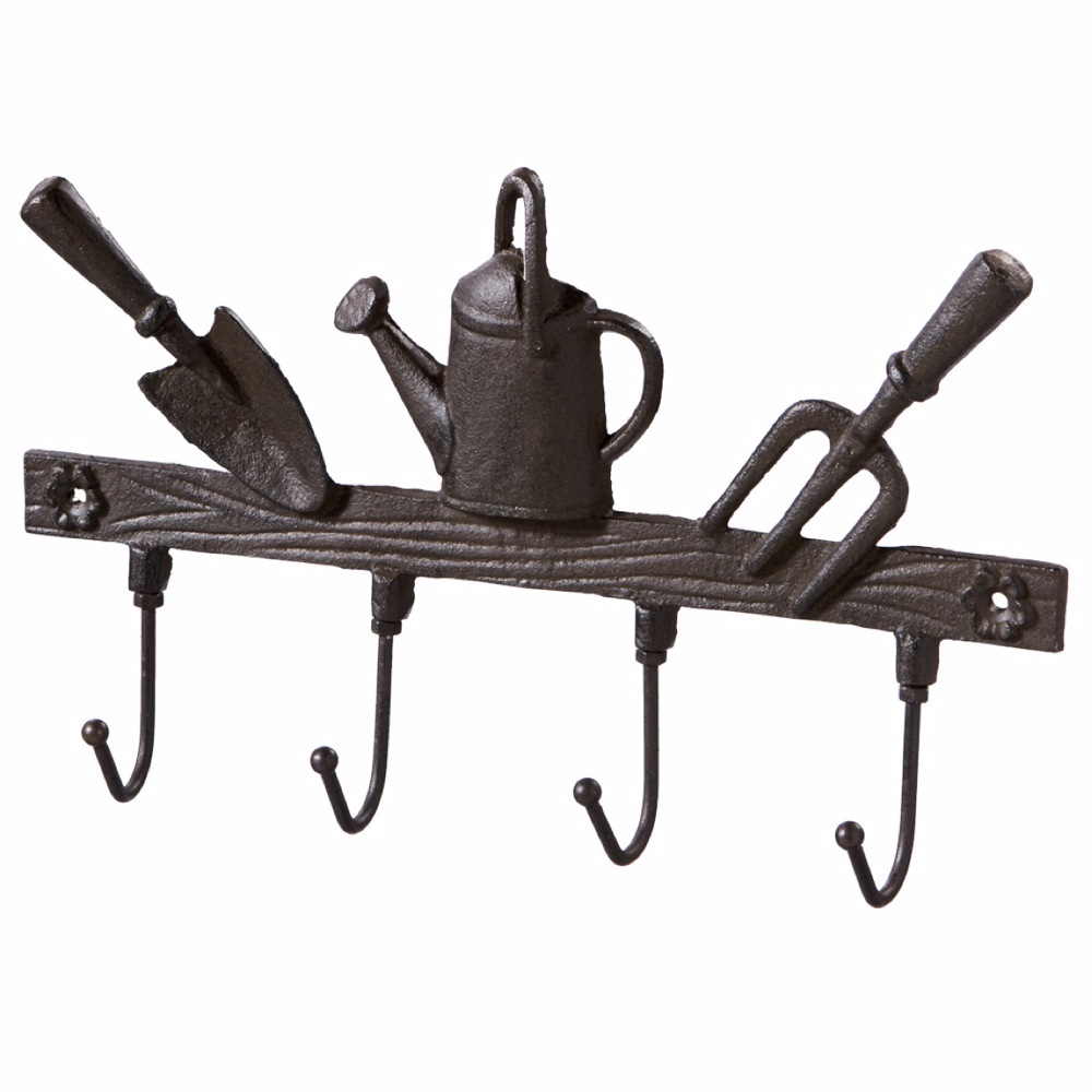 Antiqued Farm House Garden Tools Wall Hanger with 4 Hooks - 12-1/4-in