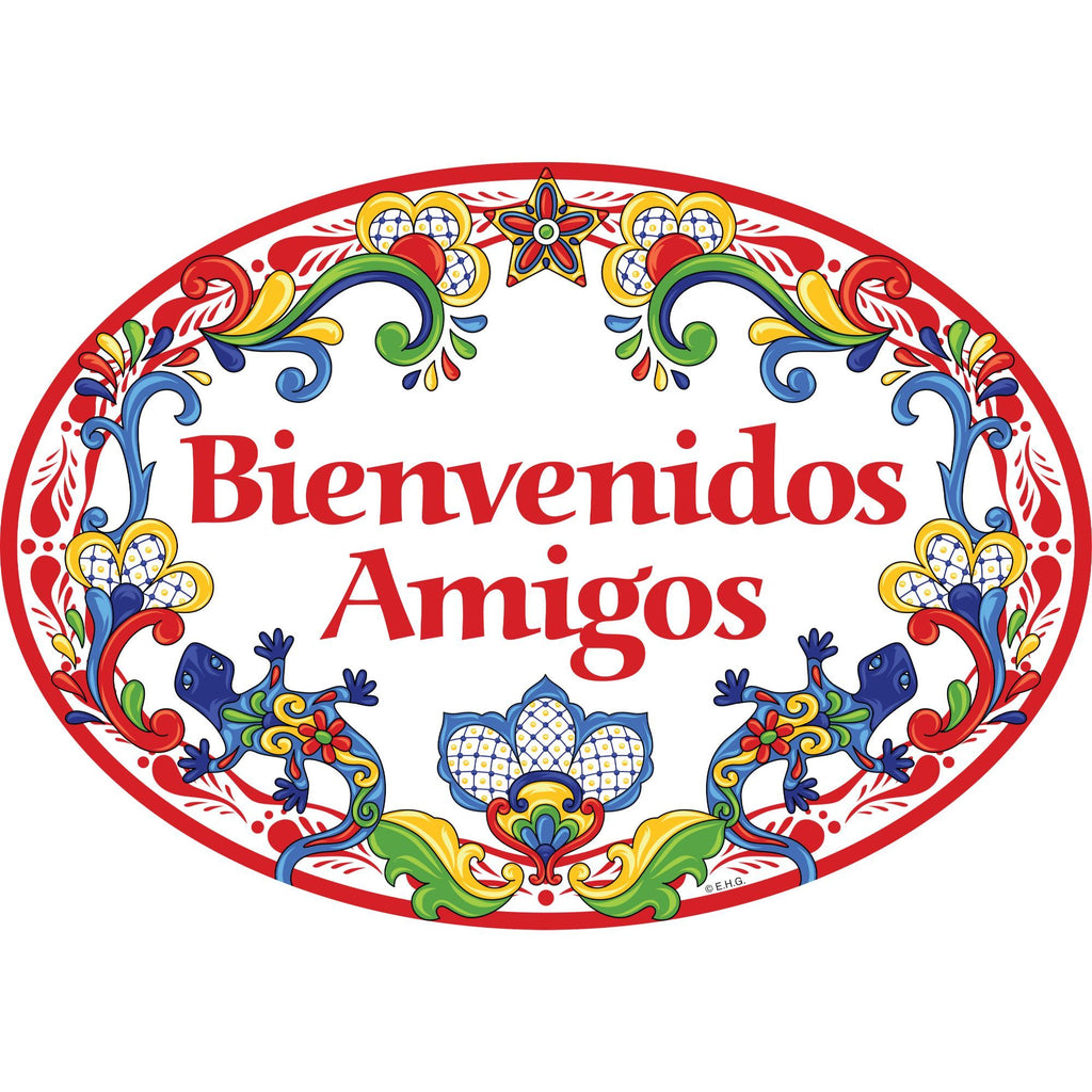 """Bienvenidos Amigos"" Decorative Red Ceramic Door Sign Geckos Motif"