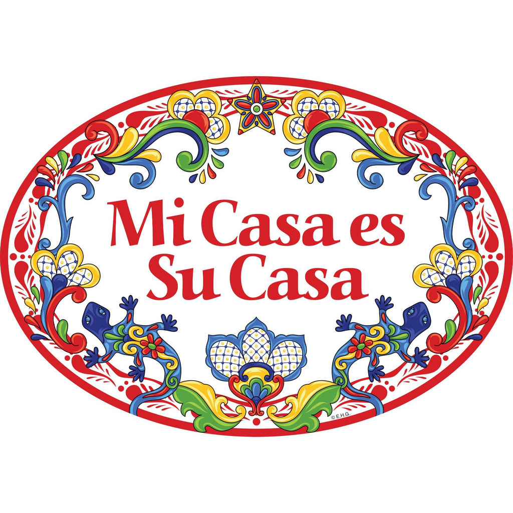 """Mi Casa es Su Casa"" Decorative Ceramic Door Sign w/ Geckos & Red Motif"