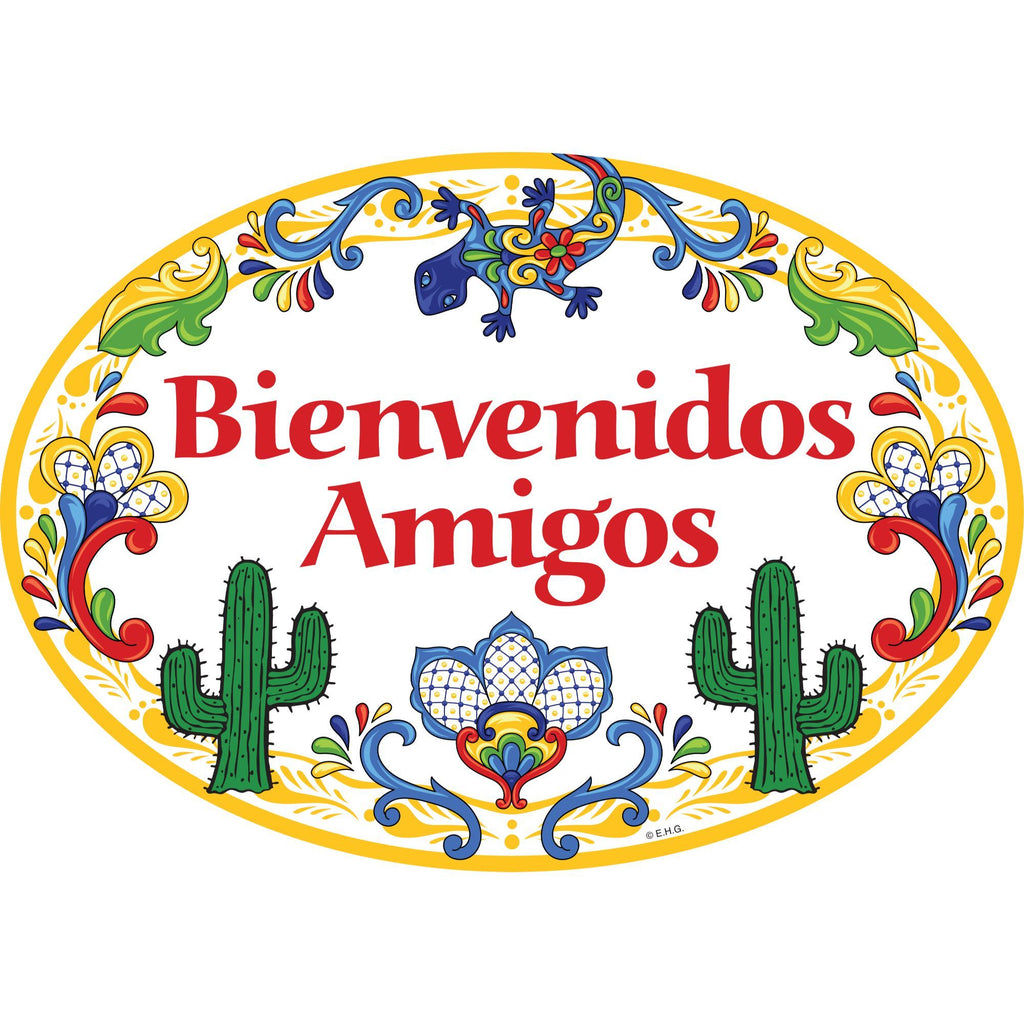 """Bienvenidos Amigos"" Decorative Yellow Ceramic Door Sign Cactus Motif"
