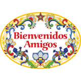 """Bienvenidos Amigos"" Decorative Yellow Ceramic Door Sign Geckos Motif"
