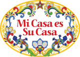 """Mi Casa es Su Casa"" Decorative Ceramic Door Sign with Flowers Motif"
