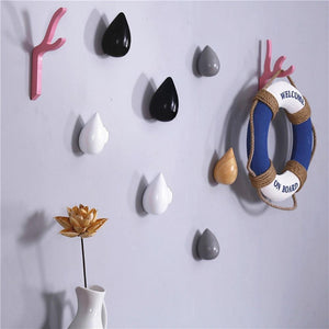 1 Pcs Wood Wall Hanger Chic Water Drop Bathroom Door Coat Hat Single Hook Holder