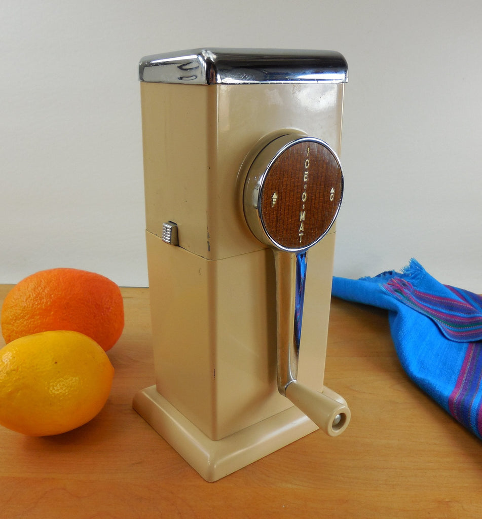 Ice-O-Mat Retro Vintage Ice Crusher Tan Beige Chrome - Manual Counter or Wall Mount Kitchen Bar Gadget