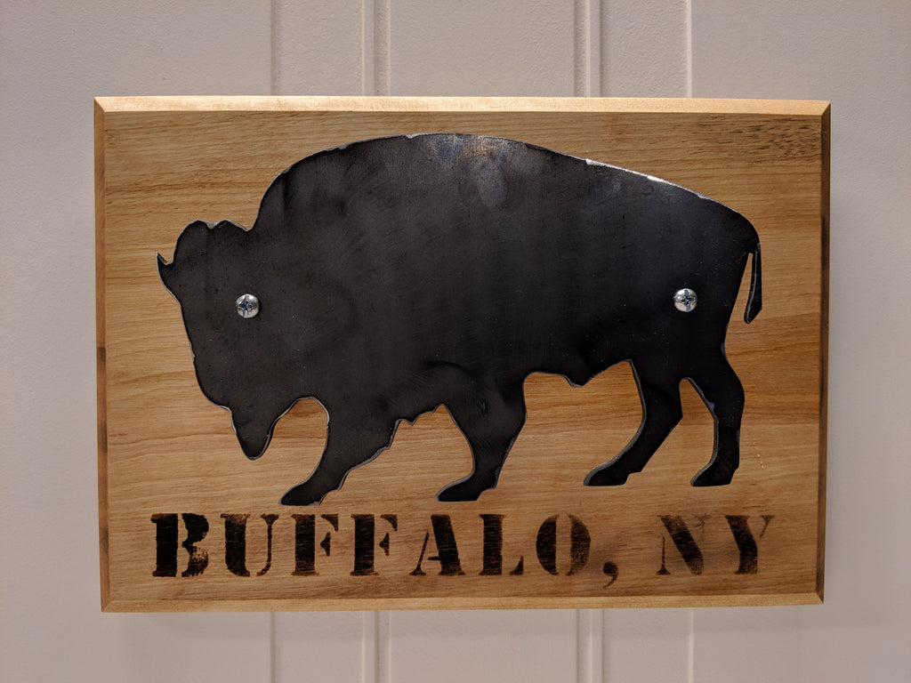 Blackened Steel With Wood Burned Buffalo, NY on Maple Wall Hanger