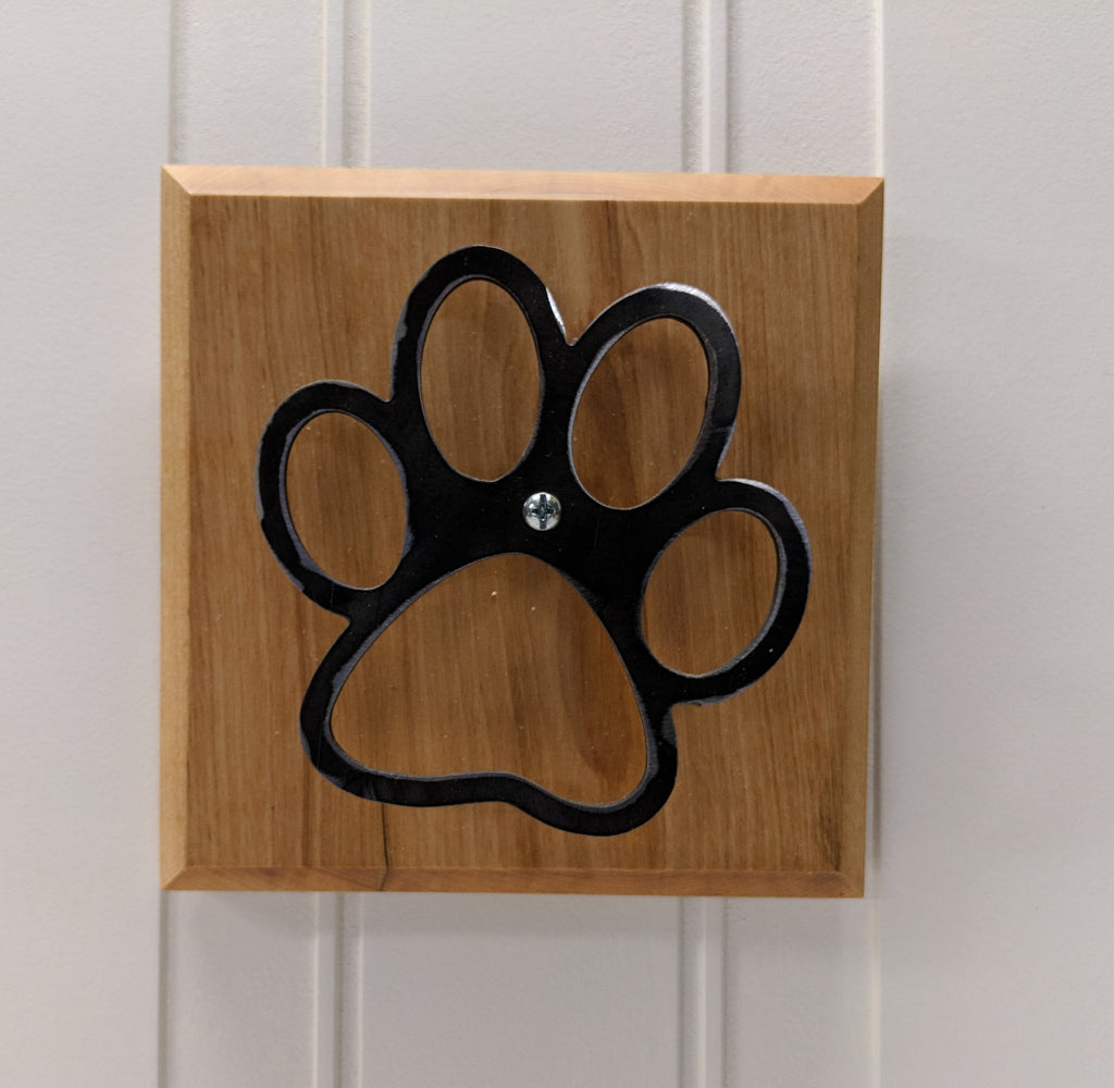 Blackened Steel Paw Print on Maple Wall Hanger