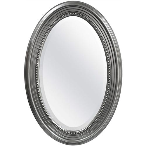 Oval Round Bathroom Mirror with Silver Frame