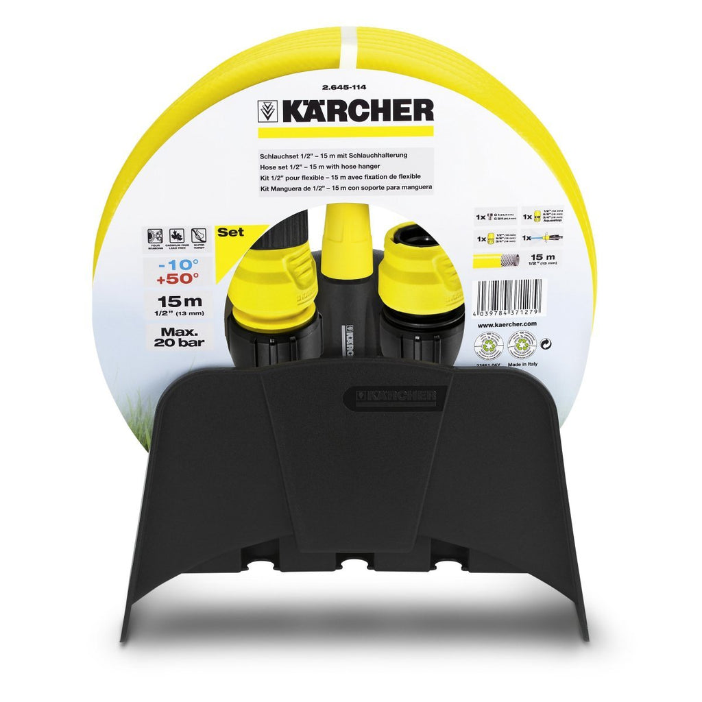 KARCHER Complete Garden 15m Hose Set With Hose Wall Hanger & Accessories
