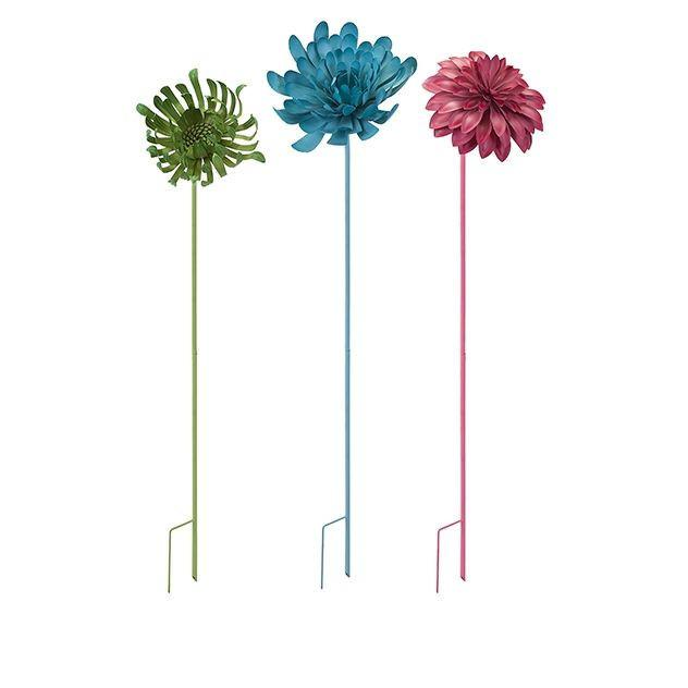 Crandall Metal Flower Garden Stake or Wall Decor - Set of 3